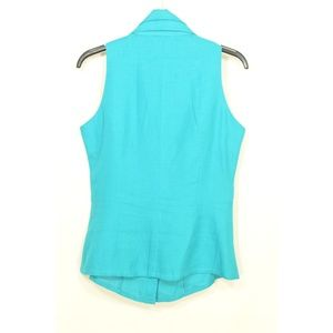 Ketty Titnco Tops - Ketty Tinoco top SZ 8 turquoise linen button front